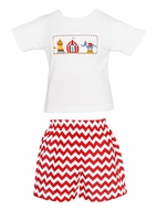 Claire & Charlie Smocked Circus Shirt with Red Chevron Shorts - Toddler Boys