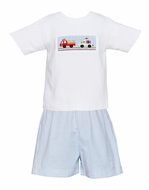Claire & Charlie Toddler Boys Blue Seersucker Shorts with Smocked Emergency Cars Tee Shirt