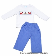 Claire & Charlie Toddler Boys Periwinkle Blue Gingham Pants with Smocked Big Red Dog Shirt