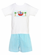 Claire & Charlie Toddler Boys Turquoise Check Shorts with Smocked Pirate Shirt