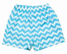 Claire & Charlie Toddler Boys Turquoise Chevron Striped Shorts