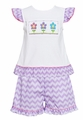 Claire & Charlie Toddler Girls Lavender Chevron Shorts with Smocked Spring Flowers Top