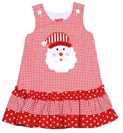 Claire & Charlie Toddler Girls Red Houndstooth Santa Claus Face Jumper Dress