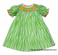 Clare and Charlie Girls Green / White Stripe Smocked Orange Pumpkins BISHOP Dress