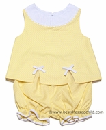 Clare & Charlie Infant Baby Girls Yellow / White Dots Bloomers Set