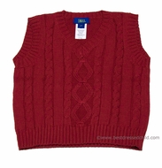 Cotton Blu Boys Christmas Red Cable Knit Sweater Vests