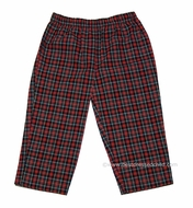 Cotton Blu Boys Red Christmas Holiday Plaid Pull On Pants