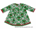 Cotton Kids Baby Girls Green Christmas Holly Print Empire Dress