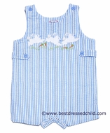 Cotton Kids Baby / Toddler Boys Blue Striped Shortall - Easter Bunnies