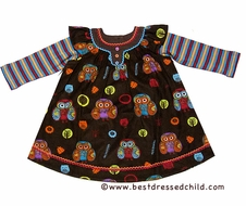 Cotton Kids Baby / Toddler Girls Brown Fall Owls Print Corduroy Beaded Dress