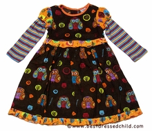 Cotton Kids Girls Brown Autumn Owl Print Corduroy Dress