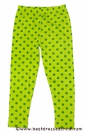 Cotton Kids Girls Leggings - Green Polka Dots