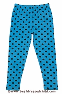 Cotton Kids Girls Leggings - Teal Blue with Brown Dots