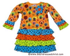 Cotton Kids Girls Orange / Green / Blue Autumn Trees Print Drop Waist Ruffle Dress