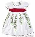 Cotton Kids Girls Christmas Dress with Holly Embroidery and Red Sash - White