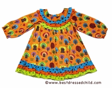 Cotton Kids Infant / Toddler Girls Orange Fall Leaves / Trees Print Empire Dress