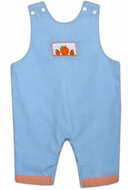 Cukees Baby Infant Boys Blue Gingham Smocked Pumpkin Overall