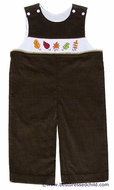 Cukees Baby / Toddler Boys Brown Corduroy Smocked Fall Leaves Longall