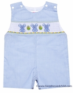 Cukees Baby / Toddler Boys Light Blue Check Smocked Marshmallow Easter Bunny Overall