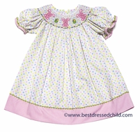 Cukees Girls Pastel Polka Dots Smocked Marshmallow Easter Bunnies Dress