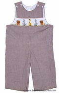 Cukees Infant / Toddler Boys Brown Gingham Smocked Jungle Animals Longall
