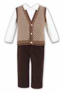 Dani by Sarah Louise Boys Dressy Brown Three Piece Vest Shirt & Pants Outfit