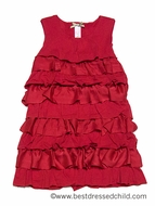 Down East Girls Red Ribbon Candy Tiered Ruffles Christmas Dress
