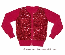 DownEast Girl Mini Sequins Cardigan Sweater - Christmas Red