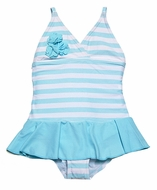 DownEast Girls Blue Peppermint Striped Skirted Swimsuit