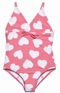 DownEast Girls Pink / White Hearts Print One Piece Swimsuit