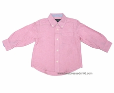 E Land Kids Boys Pastel Pink Cotton Oxford Cloth Button Down Dress Shirt with Long Sleeves