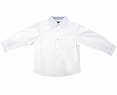ELand Kids Boys Classic White Cotton Oxford Cloth Button Down Dress Shirts - Long Sleeved