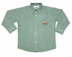 Elf on the Shelf Boys Embroidered Button Down Dress Shirt - Kelly Green Check