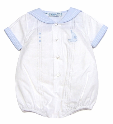 Feltman Brothers Infant Boys 23929 White Bubble with Blue Sailor Collar and Boat