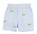 Florence Eiseman Baby / Toddler Boys Blue Seersucker Shorts with Green Alligator Embroidery