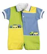 Florence Eiseman Baby Boys Blue / Green / Yellow Color Block Train Romper