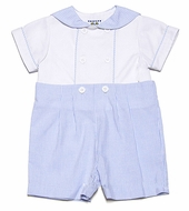 Florence Eiseman Baby Boys Blue Ottoman / White Pique Double Breasted Sailor Suit Outfit - White Buttons
