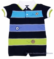 Florence Eiseman Baby Boys Blue Rugby Stripes Pique Sports Balls Romper