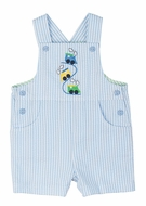 Florence Eiseman Baby Boys Blue Seersucker Shortall with Trains