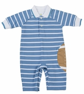 Florence Eiseman Baby Boys Blue Striped Pique Football Romper with Collar