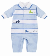 Florence Eiseman Baby Boys Blue / White Romper - Airplanes