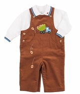 Florence Eiseman Baby Boys Camel Brown Corduroy Dump Truck Longall with Shirt
