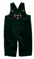 Florence Eiseman Baby Boys Emerald Green Velvet Longall with Embroidered Nutcracker Soldiers