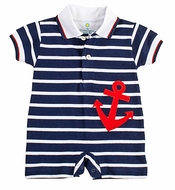 Florence Eiseman Baby Boys Knit Navy Blue Striped / Red Anchor Romper