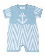 Florence Eiseman Baby Boys Light Blue Chevron / Anchor Sweater Knit Romper