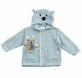 Florence Eiseman Baby Boys Light Blue Intarsia Bear Sweater - Ears on Hood