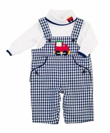 Florence Eiseman Baby Boys Navy Blue Check Train Longall with Shirt