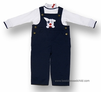 Florence Eiseman Baby Boys Navy Blue Knit Dog Longall with Shirt