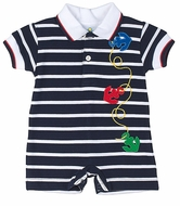 Florence Eiseman Baby Boys Navy Blue Striped Knit Romper with Collar & Anchors