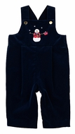 Florence Eiseman Baby Boys Navy Blue Velvet Longall with Snowman